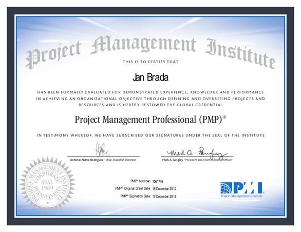 PMI PMP Certificate Jan Brada